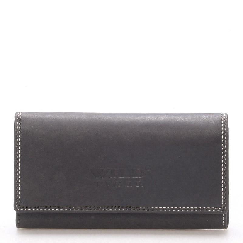 Dámska väčšia kožená peňaženka čierna - WILD Baccus čierna