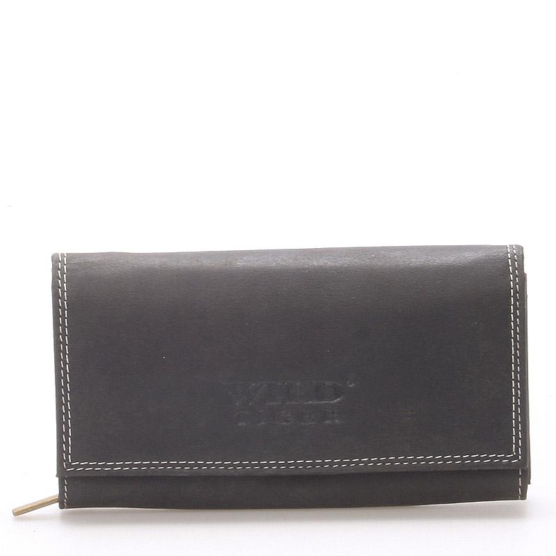 Väčšia kožená peňaženka čierna - WILD Babita čierna