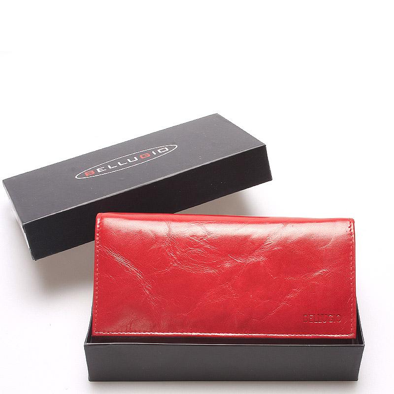 Veľká kožená červená dámska peňaženka - Bellugio Calantha červená