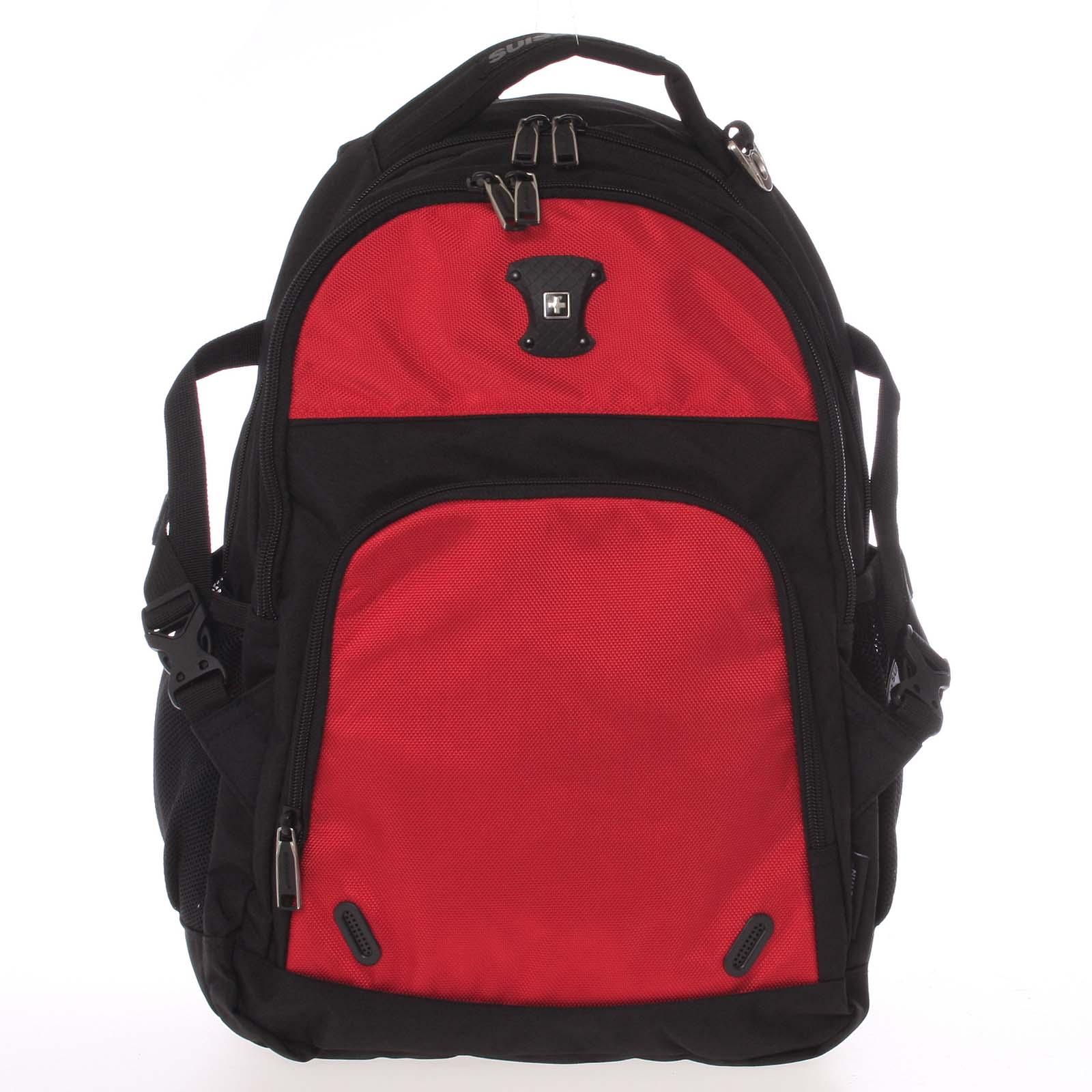 Multifunkčný priedušný ruksak čierno-červený - Suissewin 9017 červená