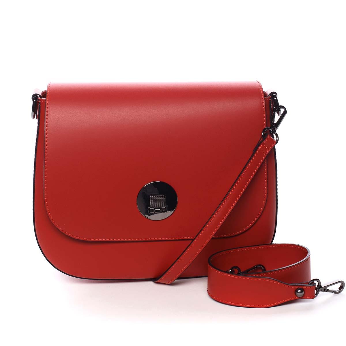 Dámska kožená kabelka červená - ItalY Agustina červená