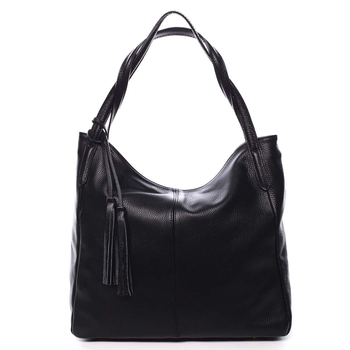 Veľká dámska kožená kabelka čierna - ItalY Janeth čierna