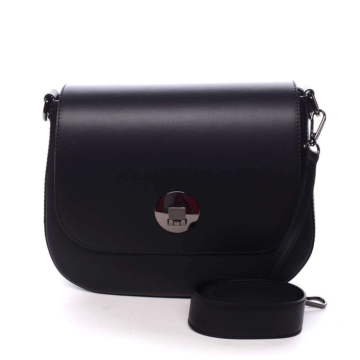 Dámska kožená kabelka čierna - ItalY Agustina čierna