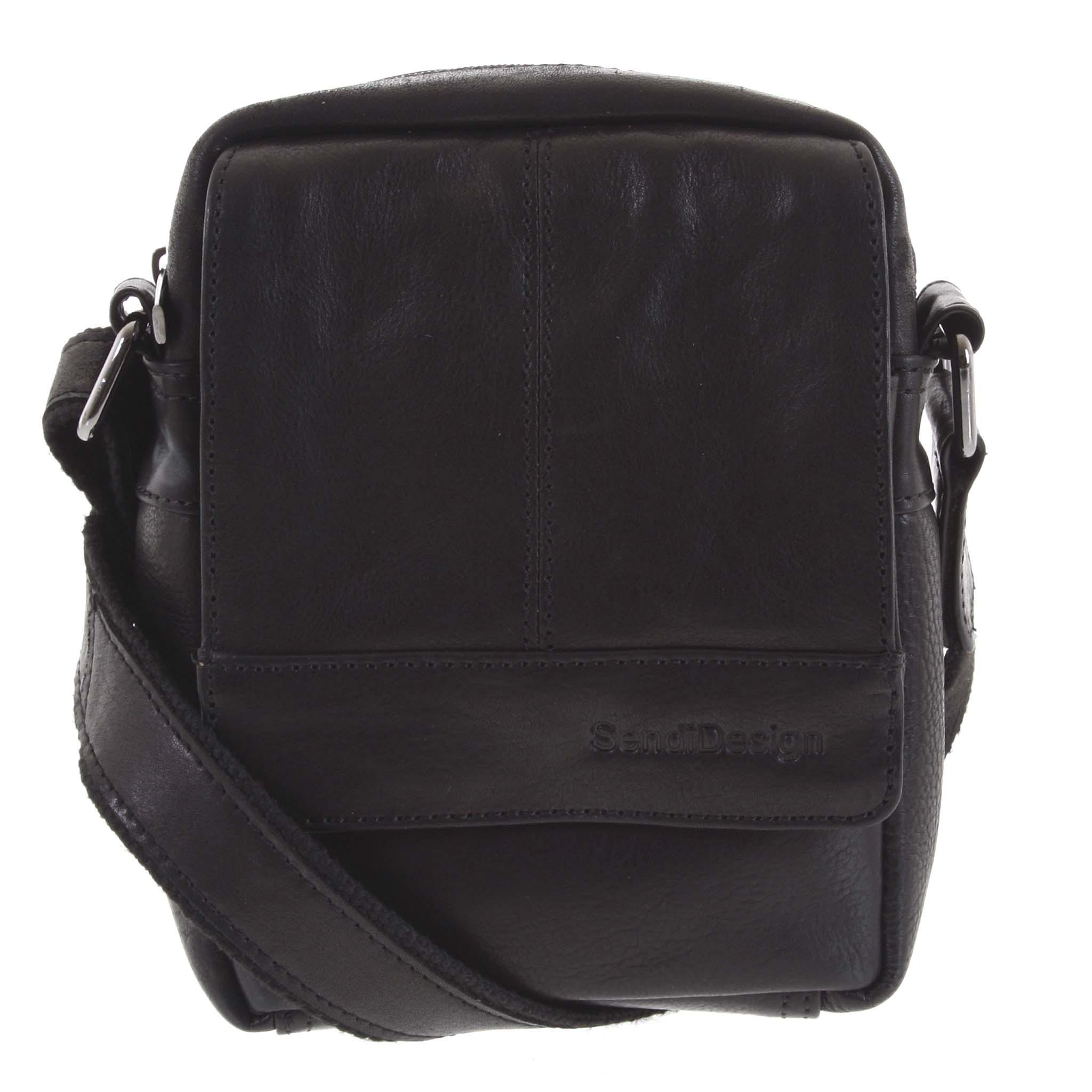 Pánska kožená crossbody taška na doklady čierna - SendiDesign Niall čierna