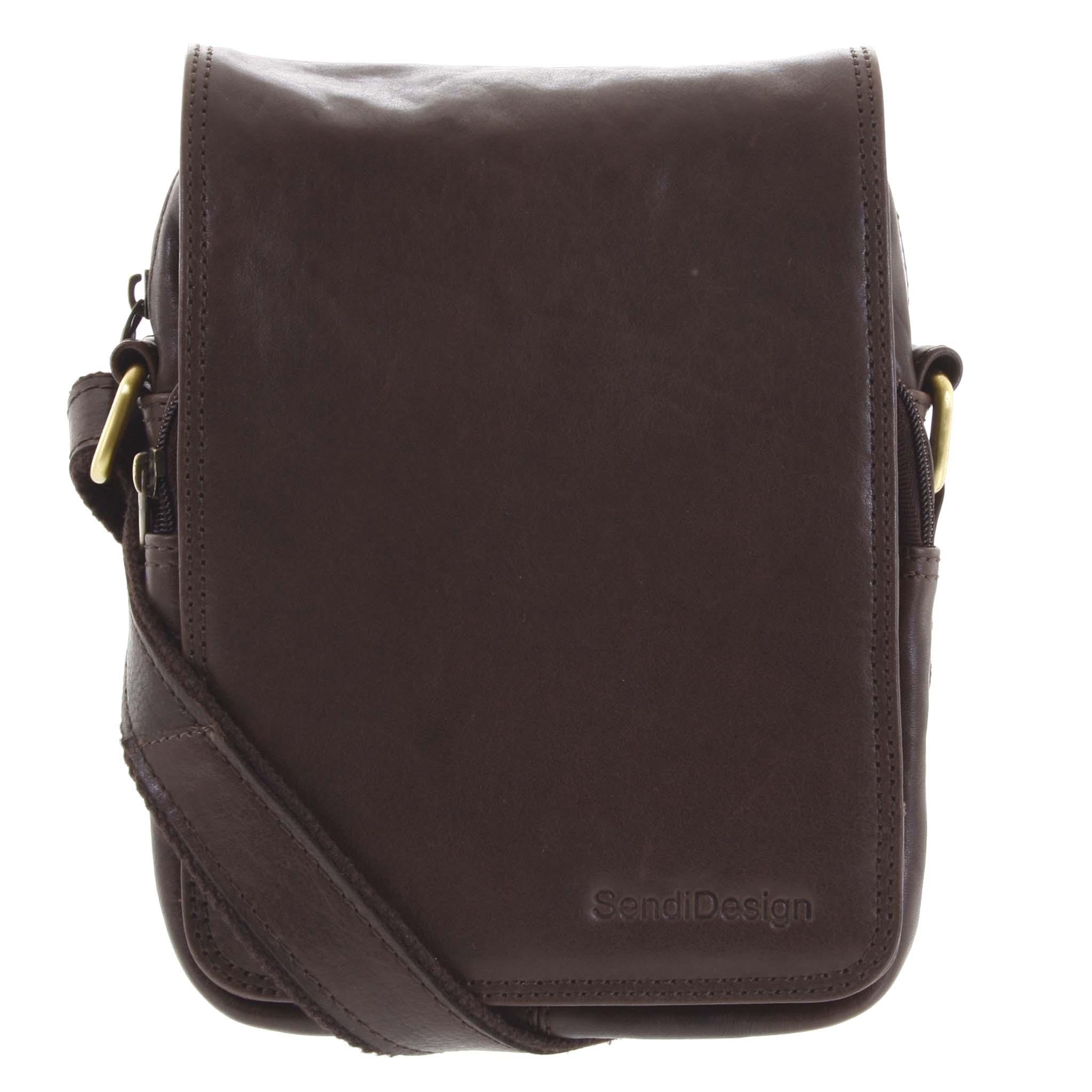 Pánska kožená taška cez rameno tmavo hnedá - SendiDesign Muxos hnedá
