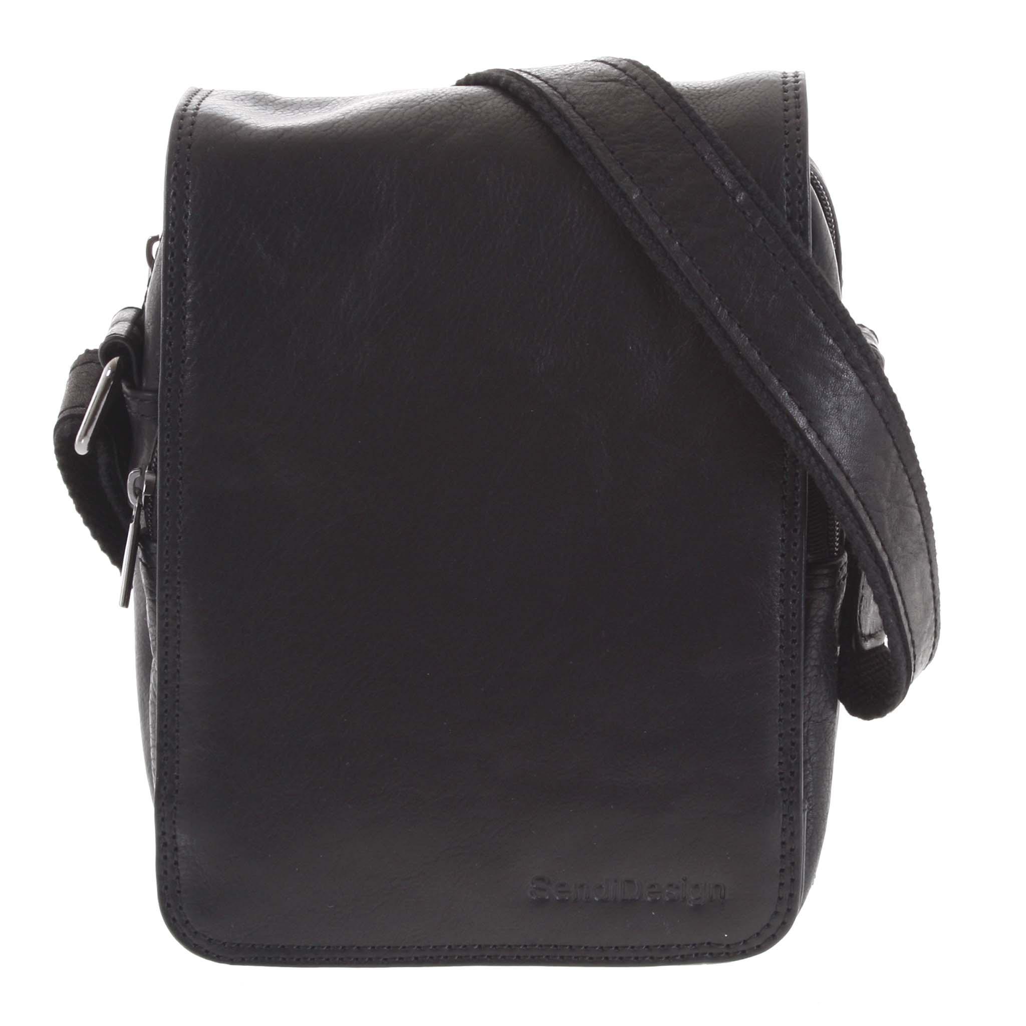 Pánska kožená taška cez rameno čierna - SendiDesign Muxos čierna
