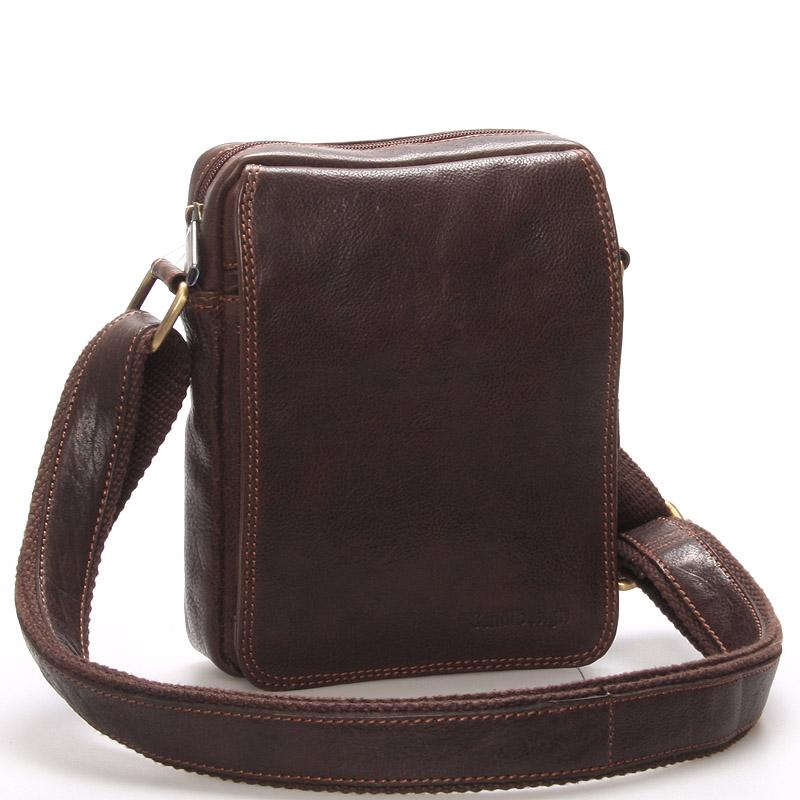 Pánska kožená taška na doklady cez plece hnedá - SendiDesign Dumont hnedá