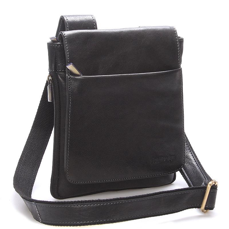 Módna pánska kožená taška cez rameno čierna - SendiDesign Blayze čierna