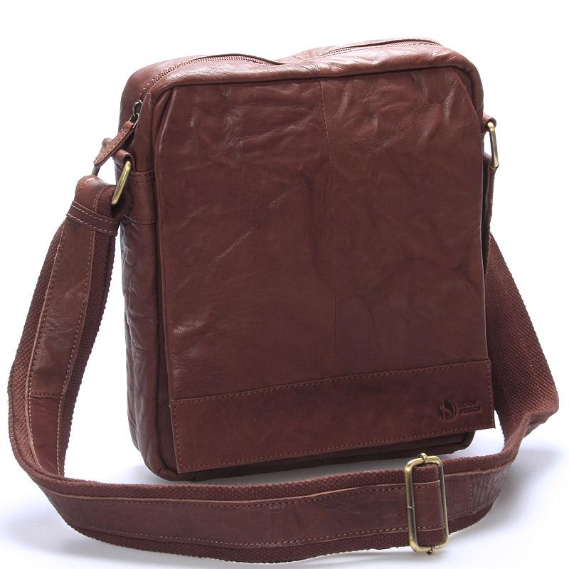 Luxusná veľká kožená crossbody taška hnedá - SendiDesign diverzie hnedá