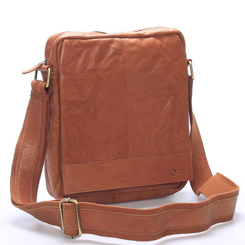 Luxusná veľká kožená crossbody taška svetlohnedá - SendiDesign diverzie hnedá