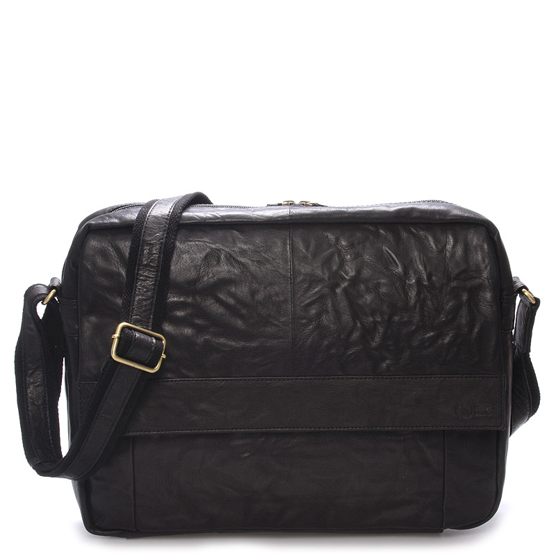 Veľká luxusná pánska kožená taška čierna - SendiDesign Nethard čierna