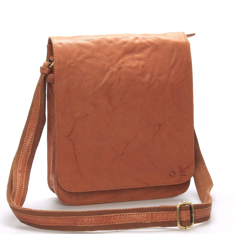 Väčšia svetlohnedá crossbody pánska kožená taška - SendiDesign darilo hnedá