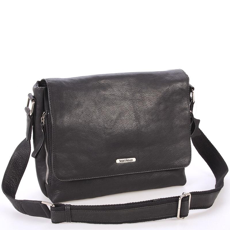 Luxusná veľká kožená taška čierna- Sendi Design Hermes čierna