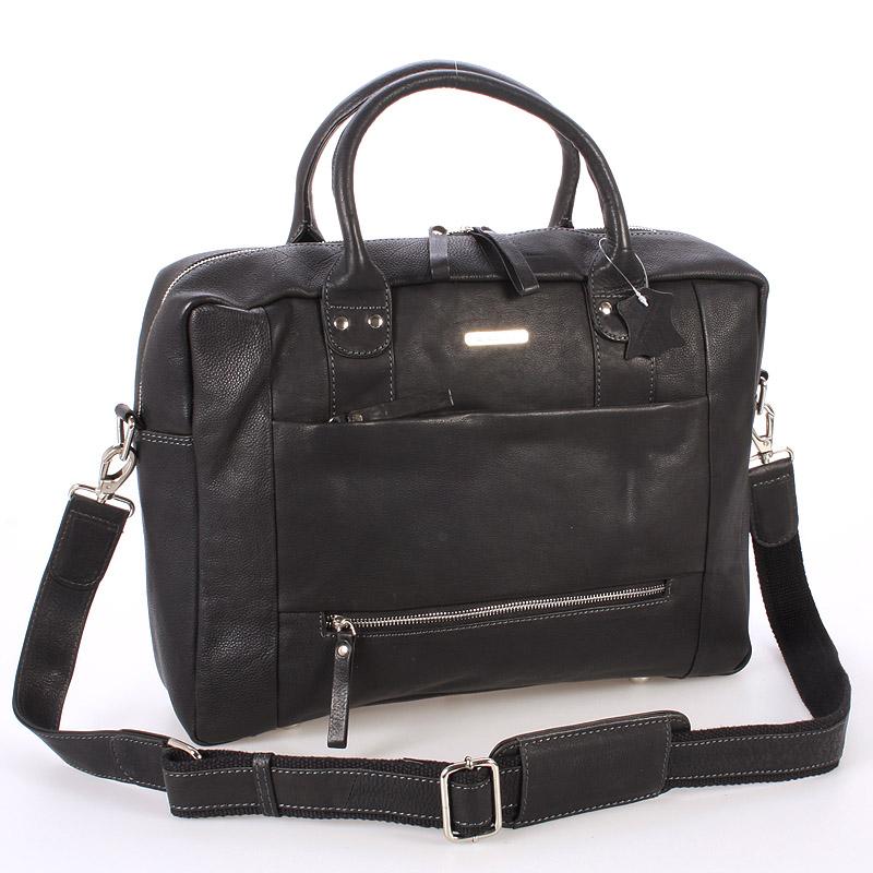 Čierna luxusné a kvalitné kožená taška - send Design Hero čierna