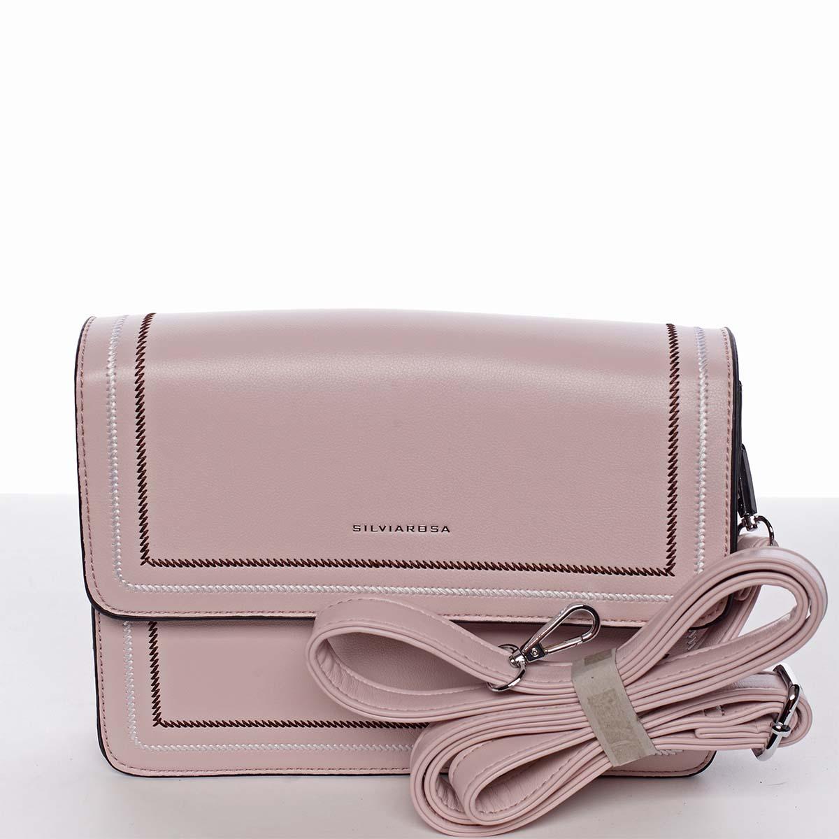 Originálna elegantná crossbody kabelka svetloružová - Silvia Rosa Cielo ružová