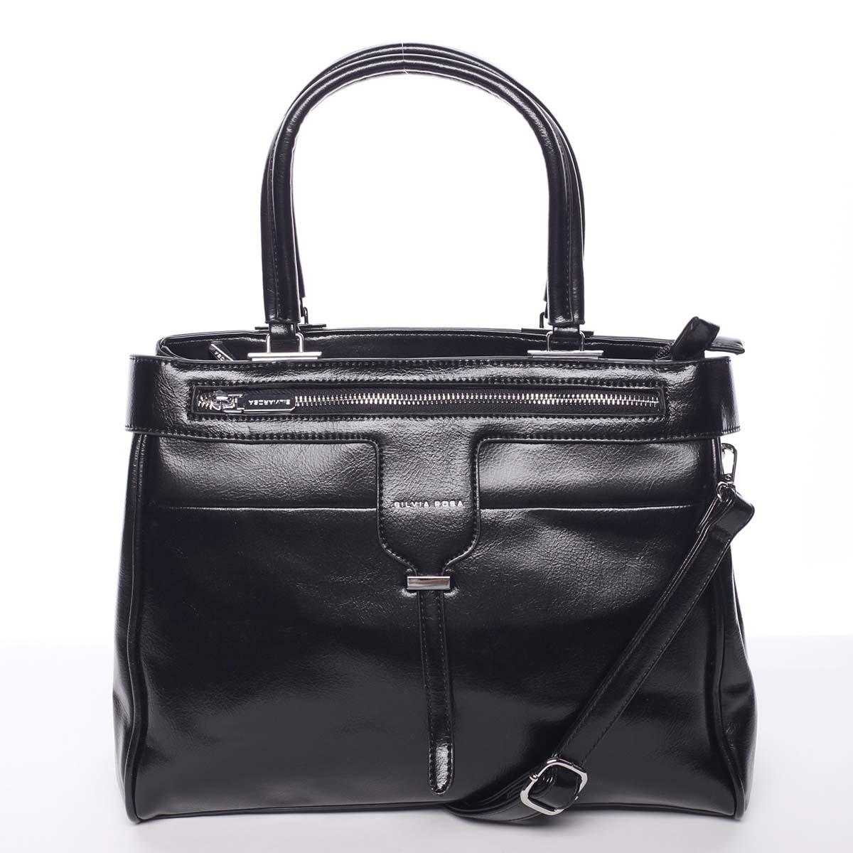 Luxusná moderná dámska čierna kabelka do ruky - Silvia Rosa Venus čierna