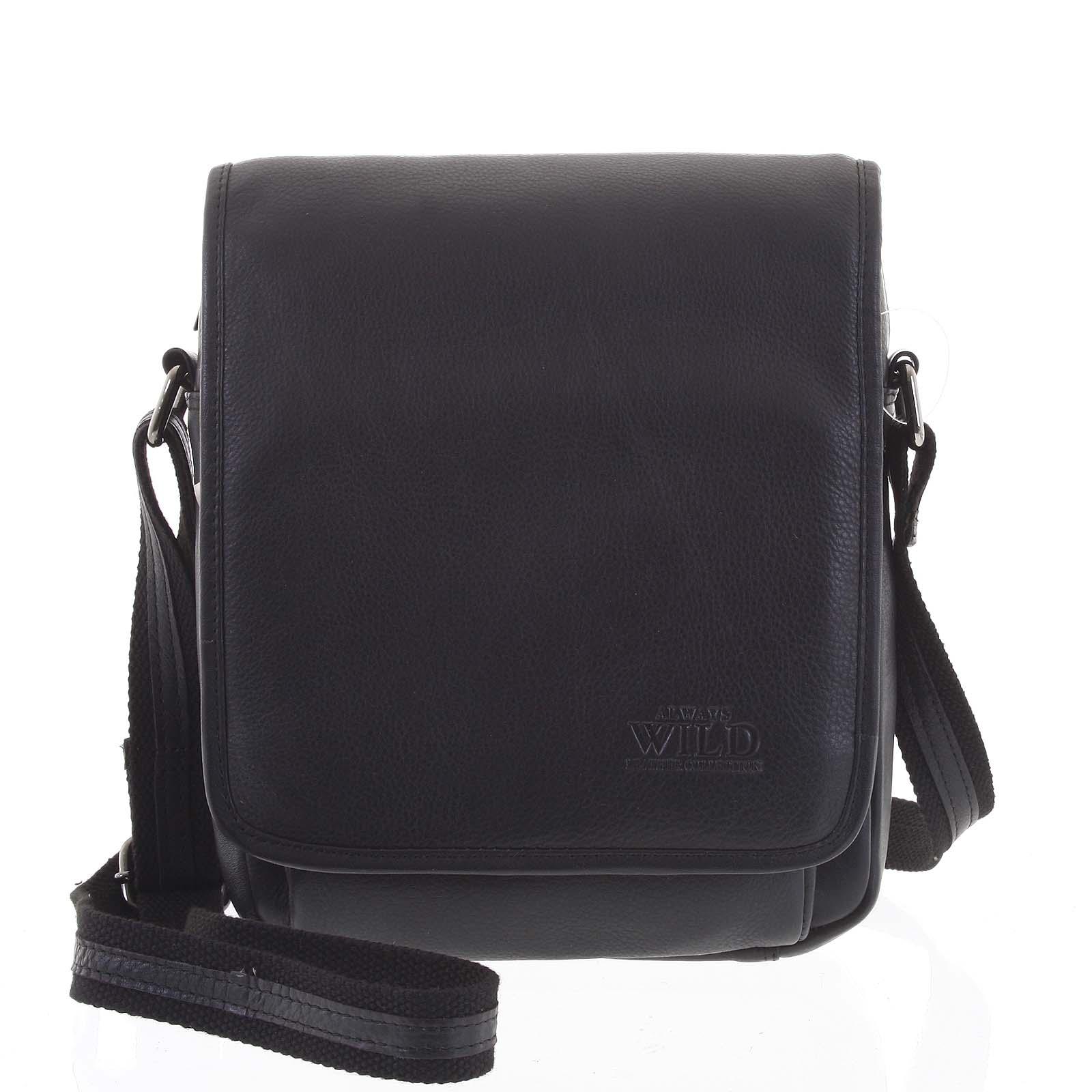 Čierna elegantná pánska kožená taška - WILD Telford čierna