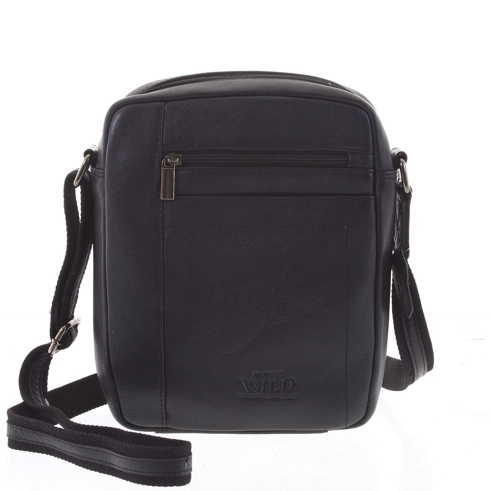 Čierna elegantná pánska kožená taška - WILD Markey čierna