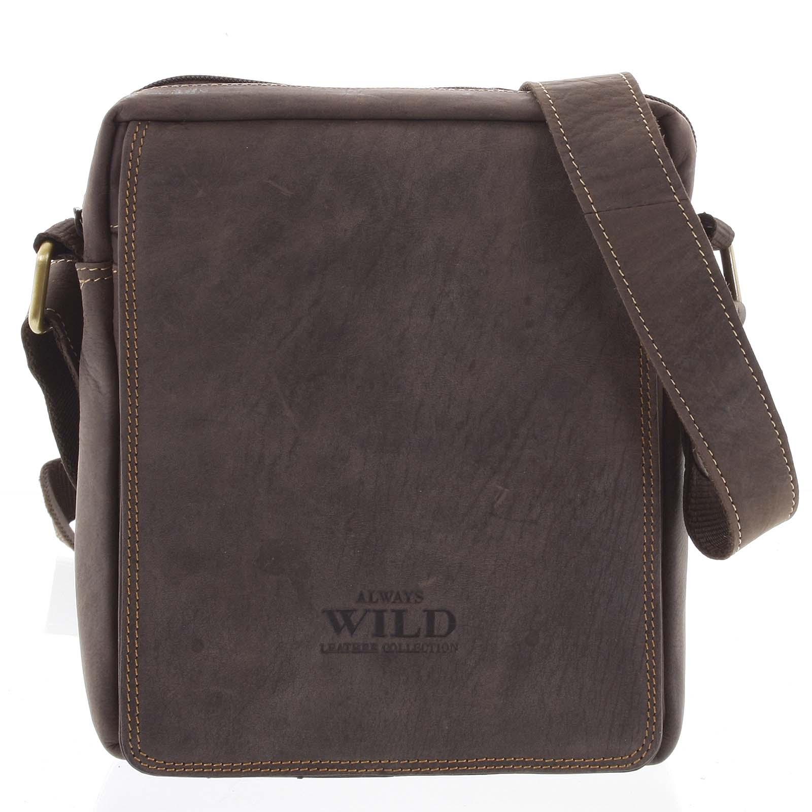 Pánska kožená crossbody taška tmavo hnedá - WILD Yander hnedá