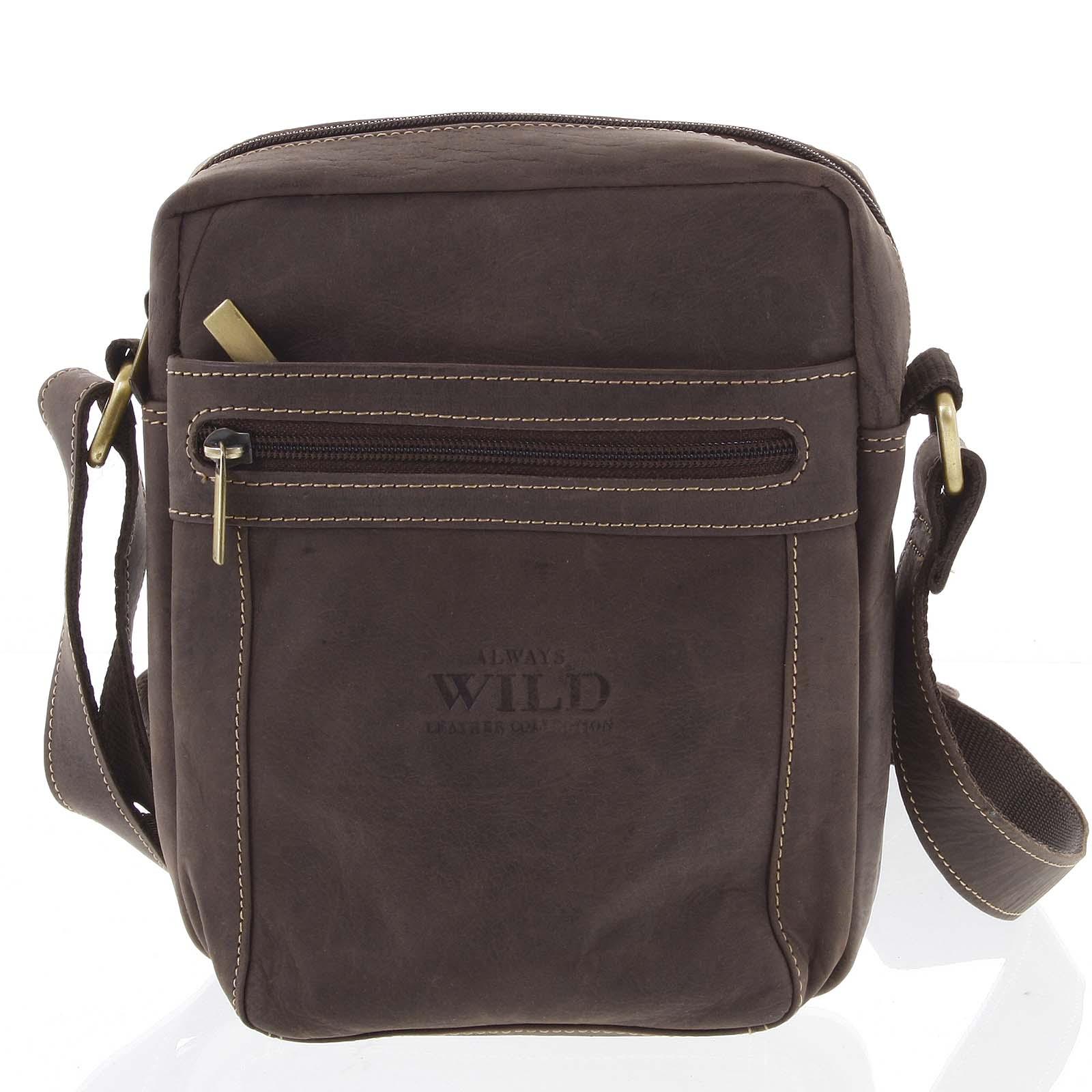 Pánska kožená crossbody taška tmavo hnedá - WILD Abilio hnedá