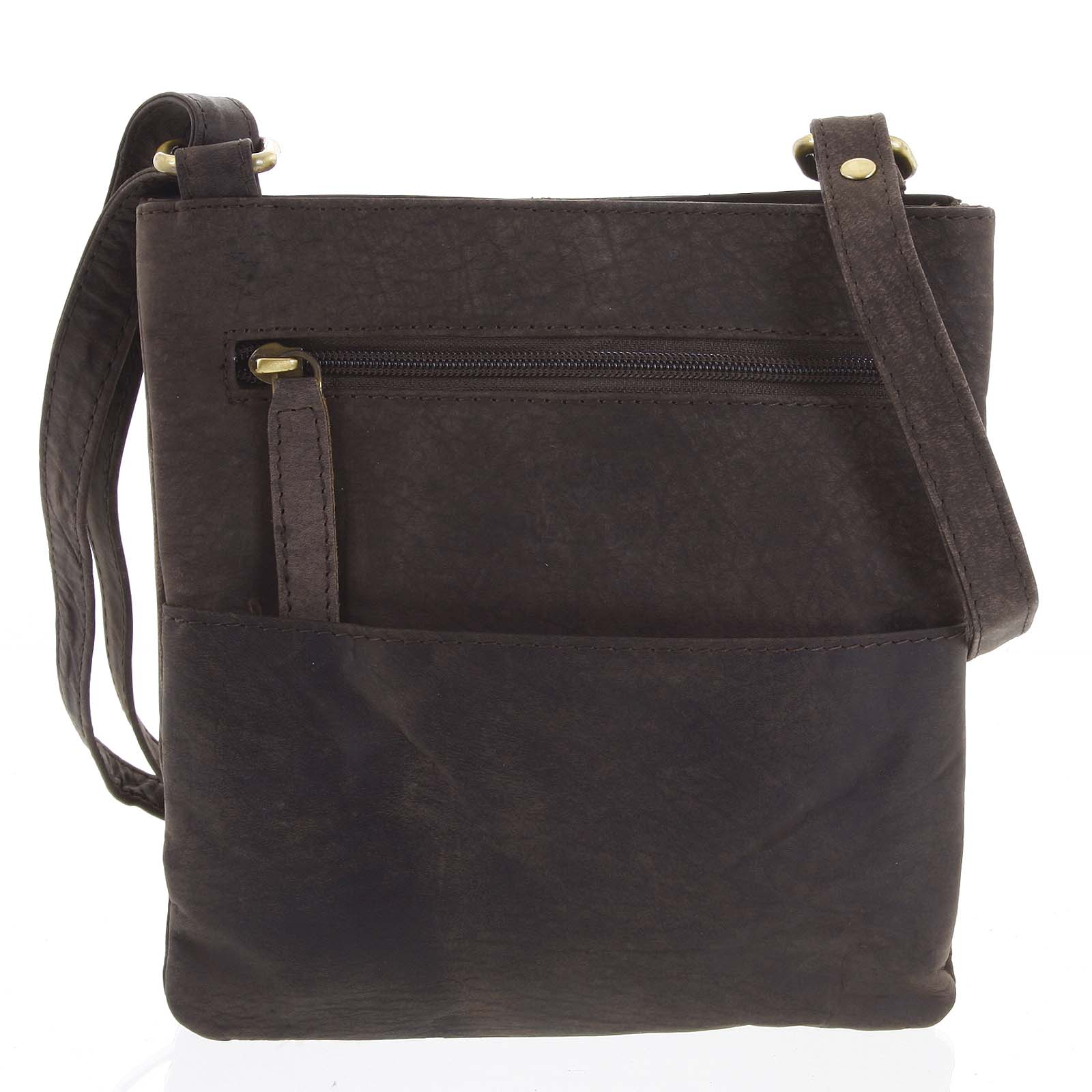 Pánska kožená taška na doklady tmavohnedá - WILD Lukeny hnedá