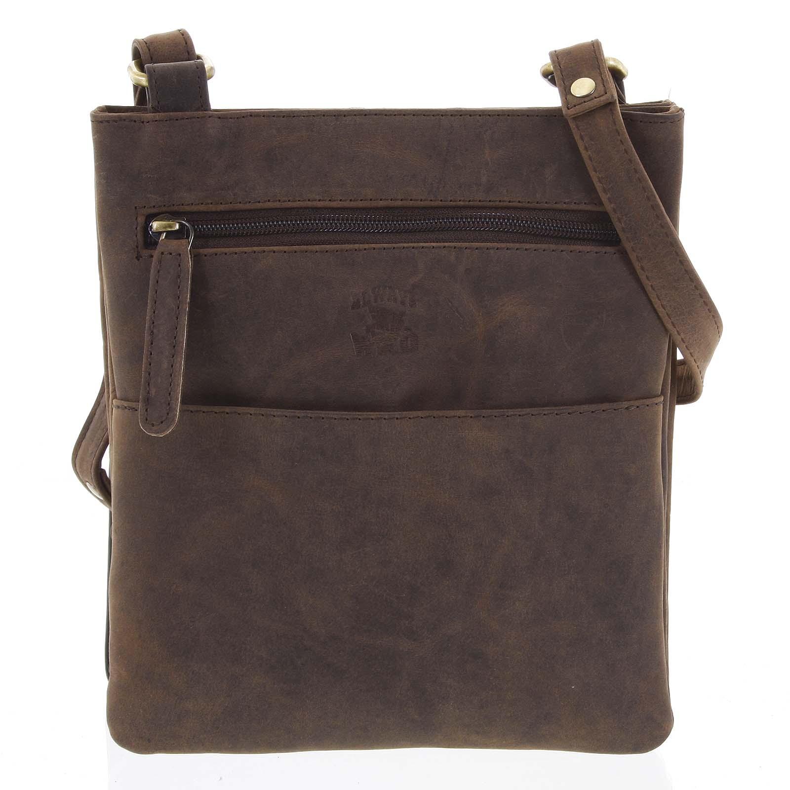 Pánska kožená crossbody taška hnedá - WILD Graison hnedá