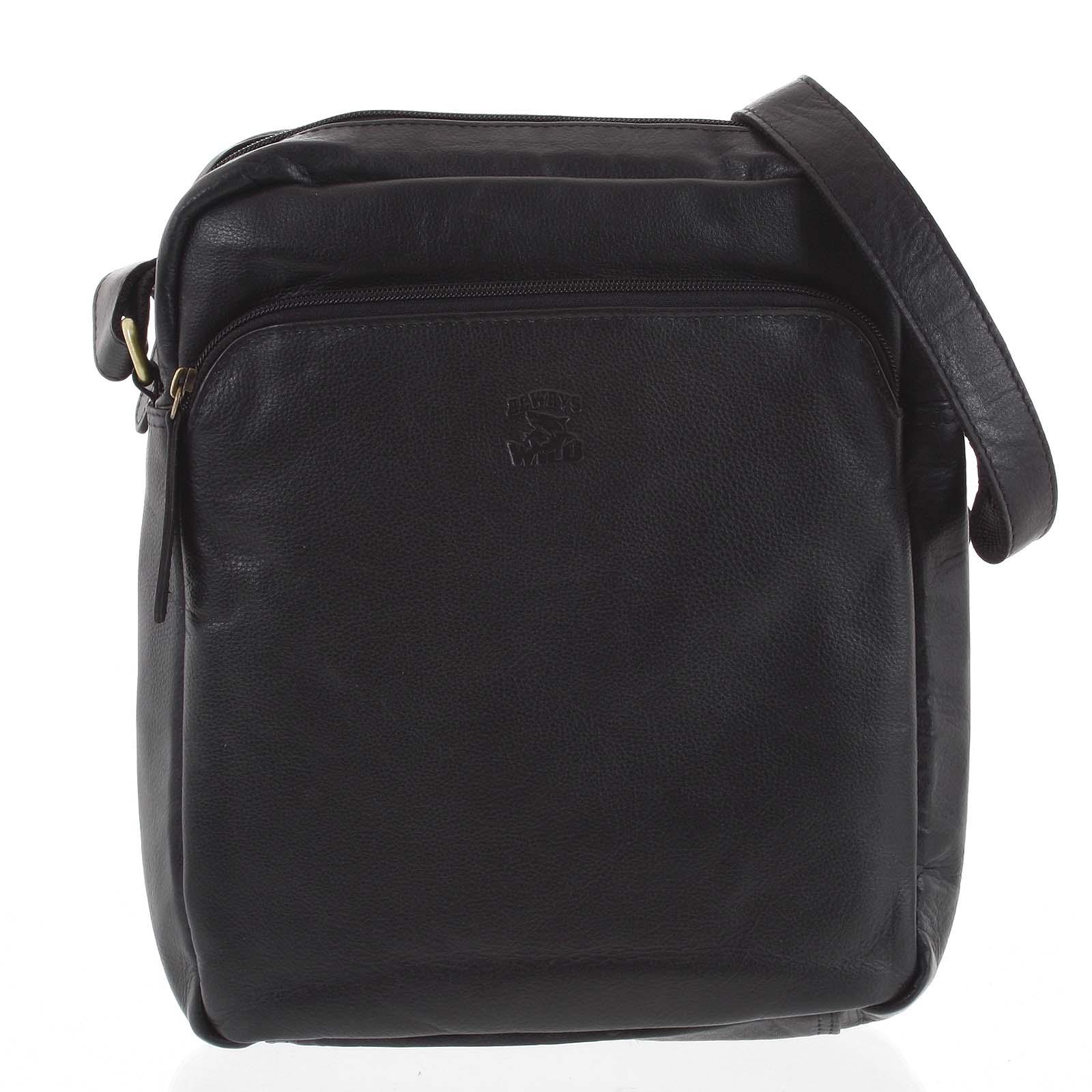 Pánska kožená crossbody taška čierna - WILD Jesualdo čierna