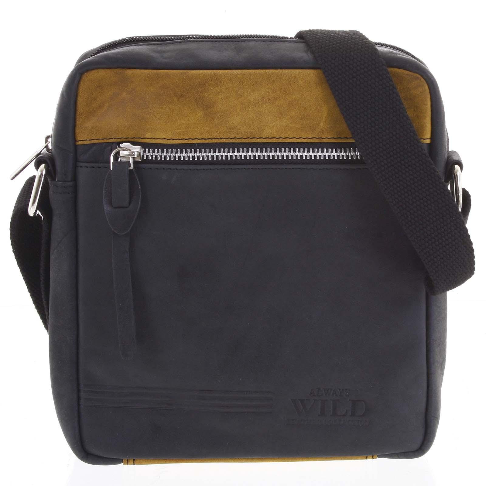 Pánska kožená crossbody taška čierna - WILD Kamata čierna