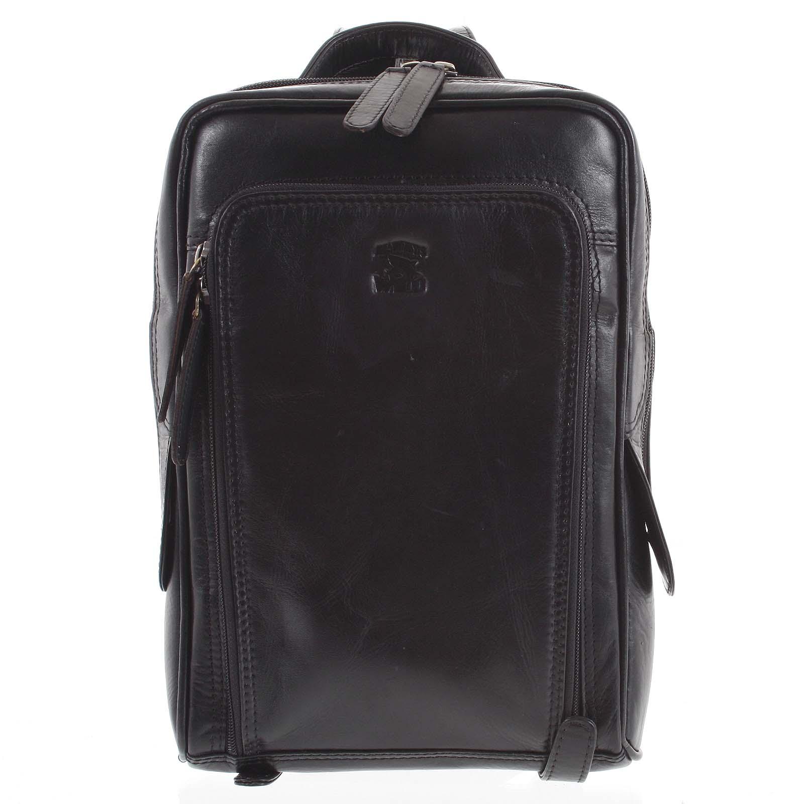 Malý kožený batoh čierny - WILD Abraham čierna