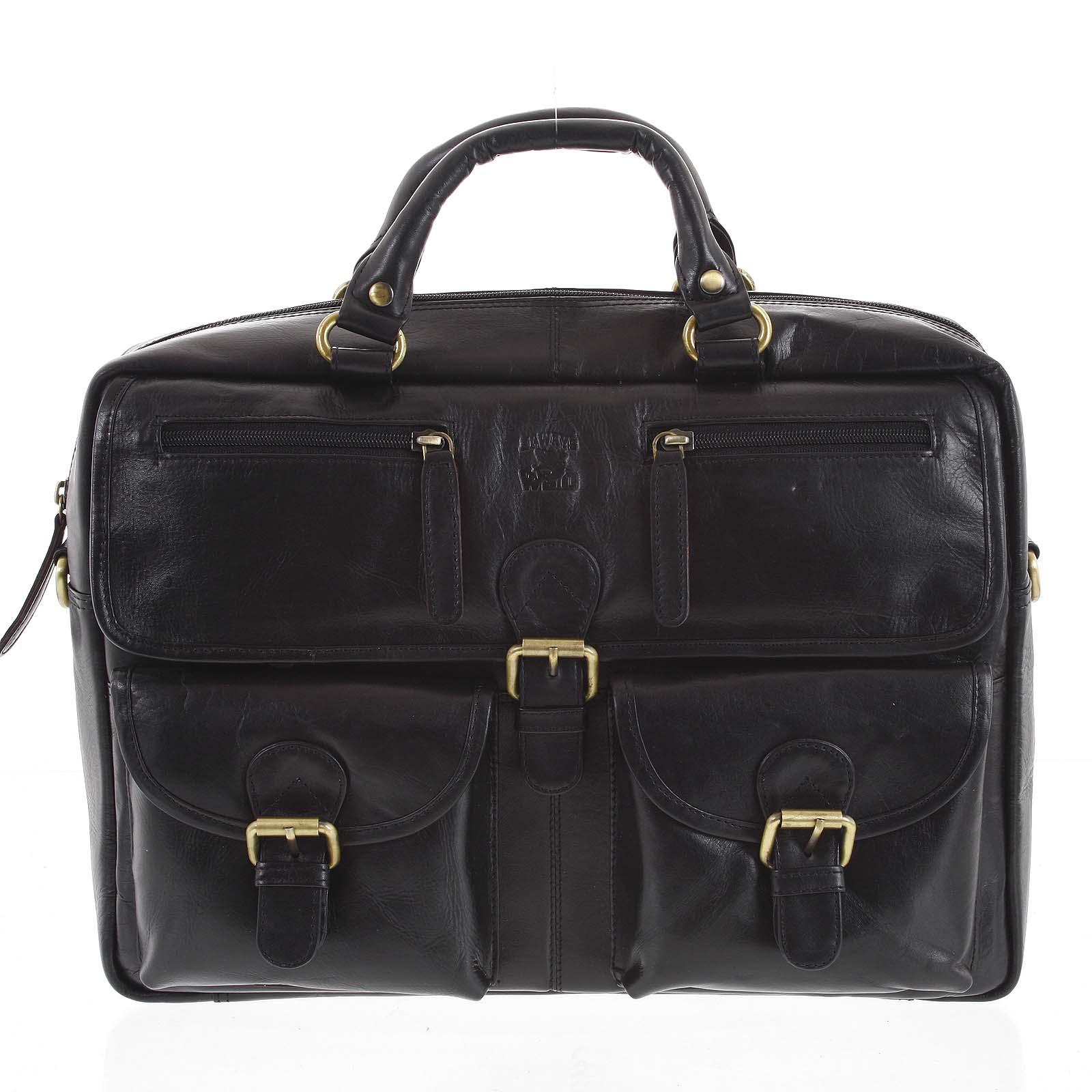 Pánska kožená taška čierna - WILD Jovani čierna