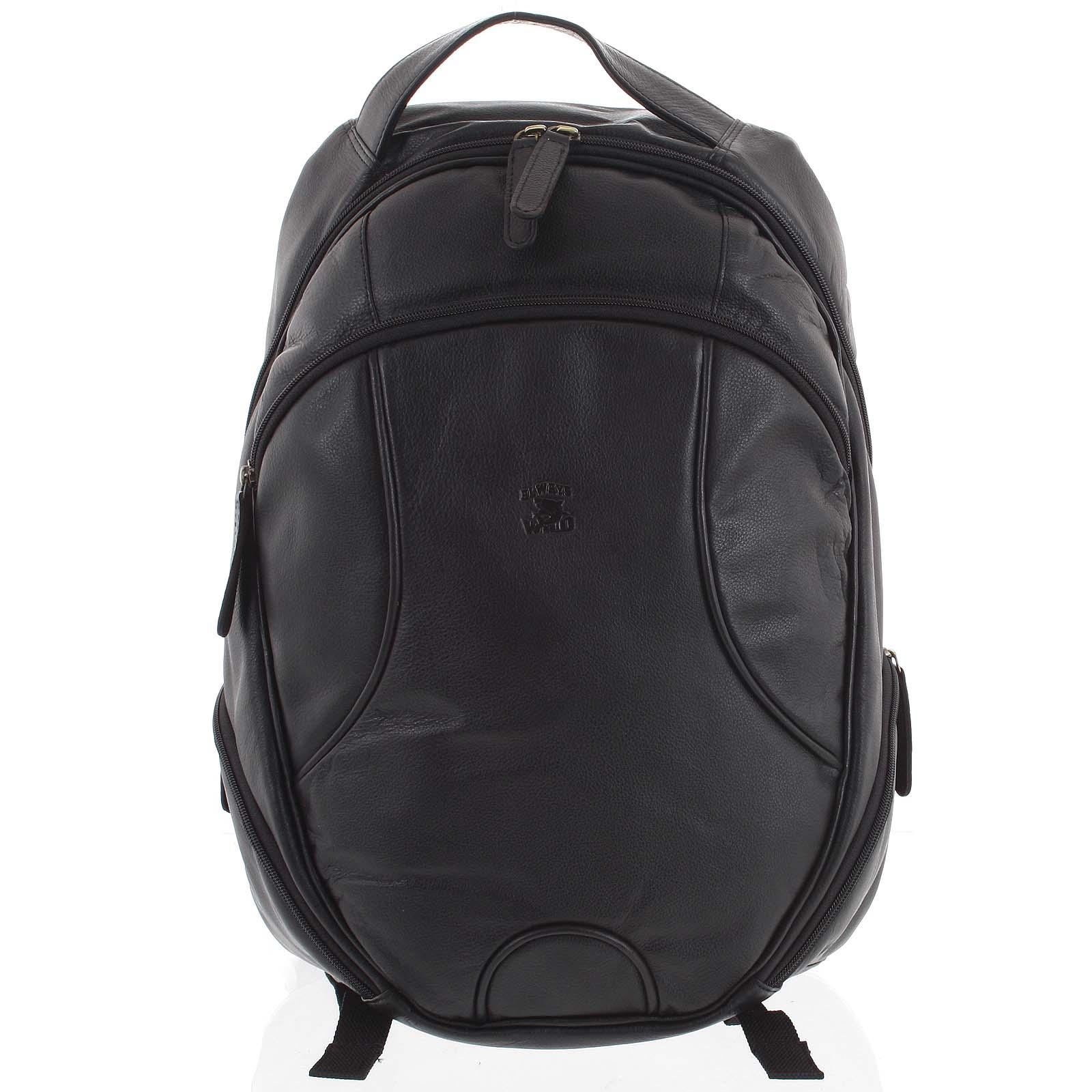 Kožený batoh čierny - WILD Picelle čierna