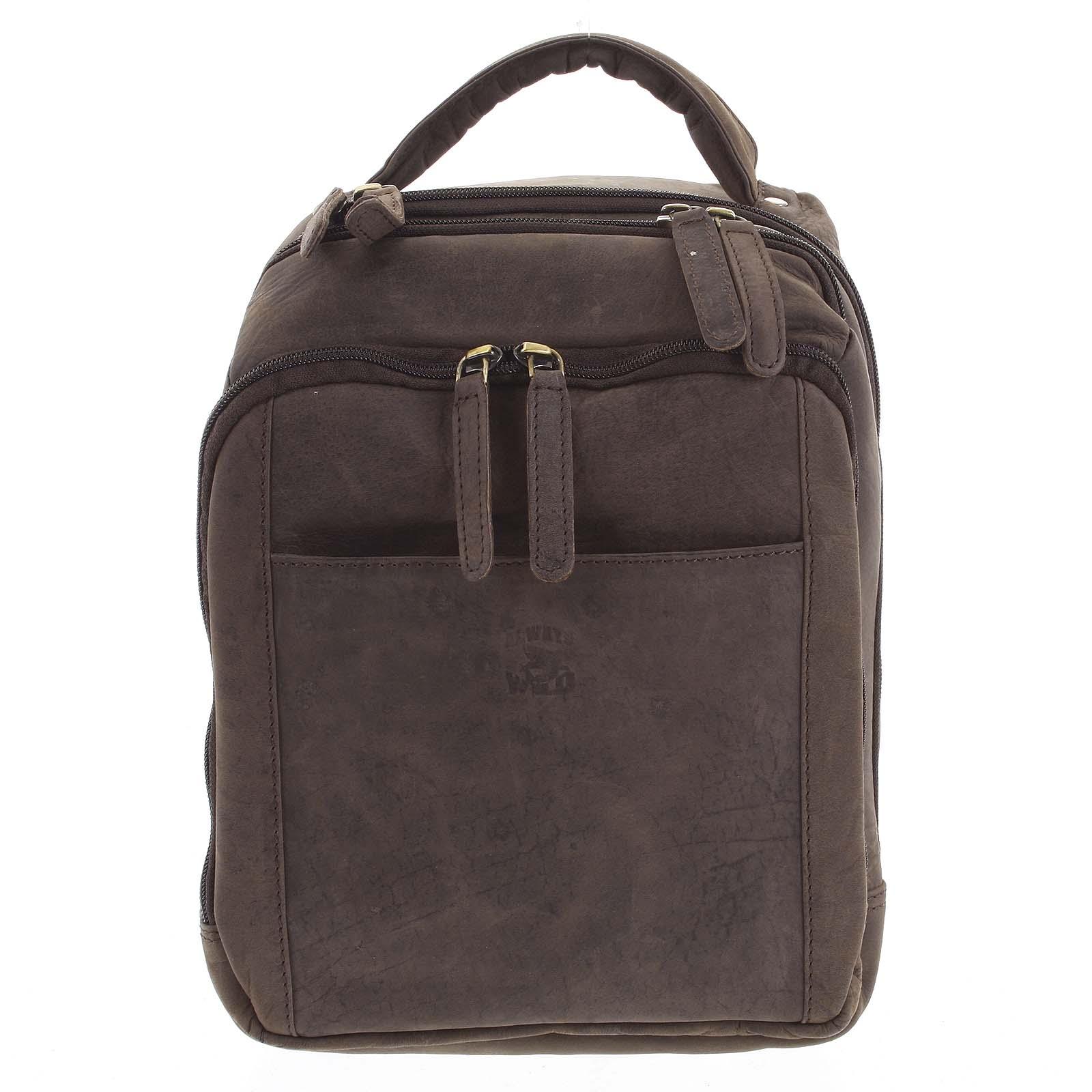 Pánsky kožený batoh tmavohnedý - WILD Josemar hnedá