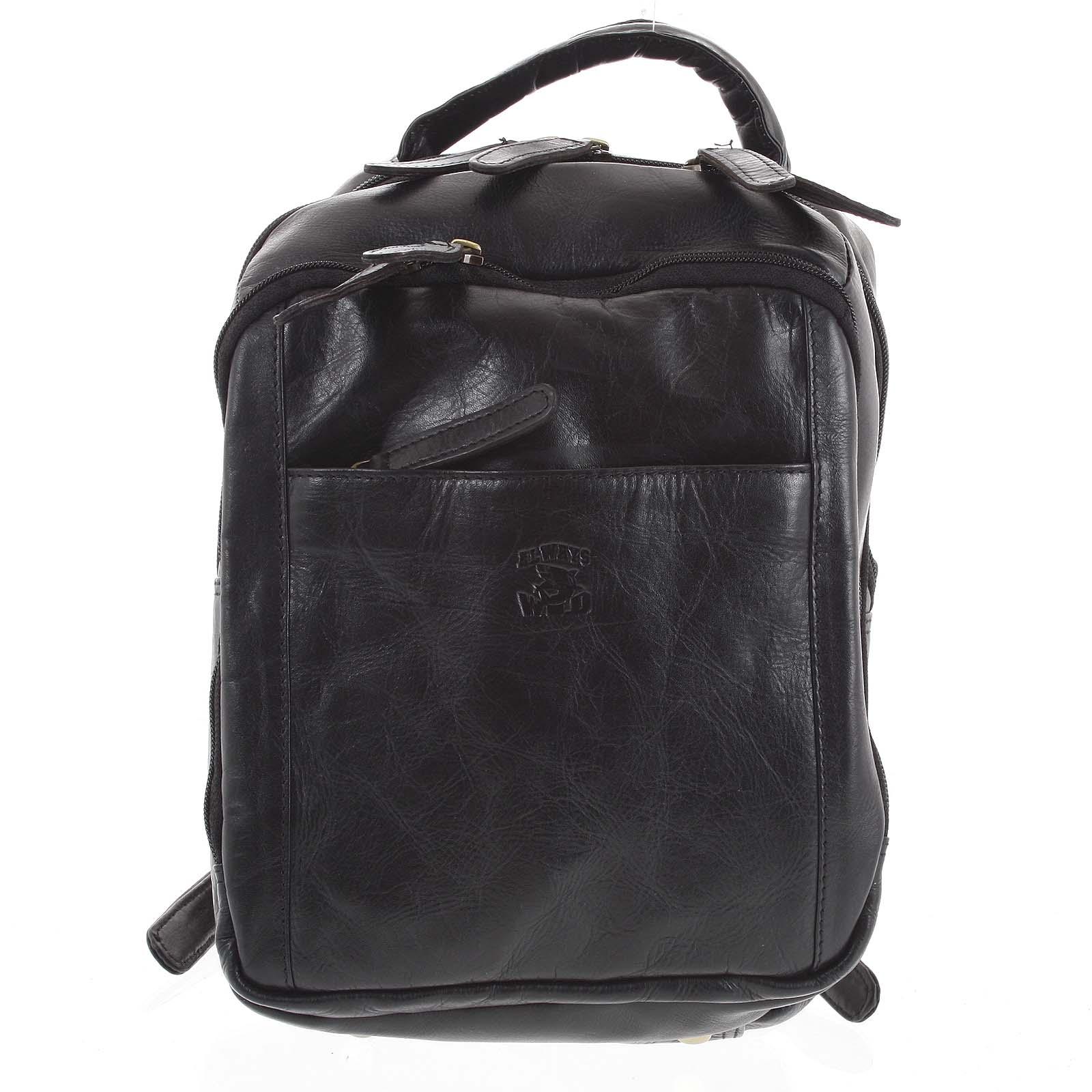 Pánsky kožený batoh čierny - WILD Josemar čierna