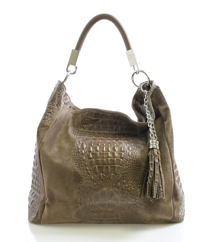 Luxusná taupe kožená kabelka ItalY 10521 - Kabea.cz d65a550c60a