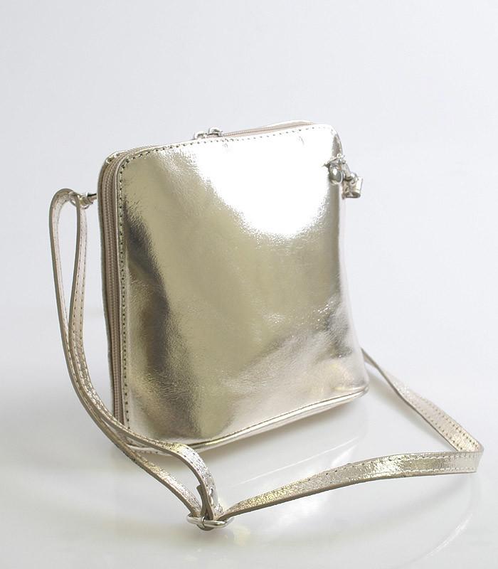 67aa94bd85 Zlatá dámska kožená kabelka crossbody 10053 - Kabea.cz
