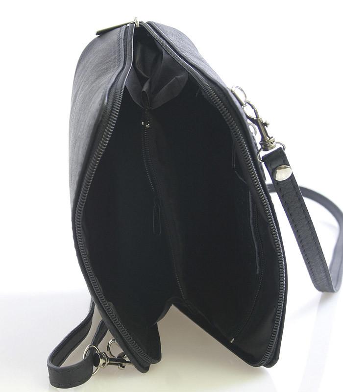 bf5eebdb5 Dámska kabelka čierna kožená crossbody 10053 - Kabea.cz