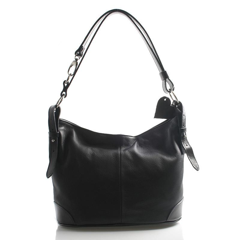 921dc6edf1 Čierna kožená kabelka cez plece crossbody ItalY Harmony - Kabea.cz