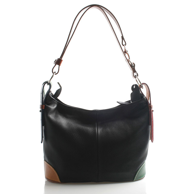 19aac9a074 Čierna farebná kožená kabelka cez plece crossbody ItalY Harmony ...