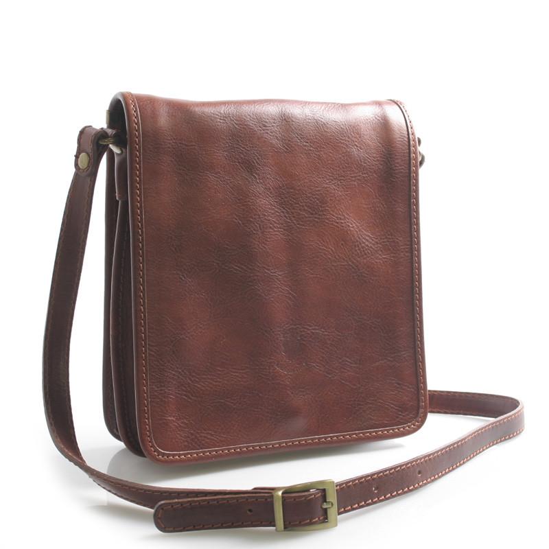 4c3bd020ac13 Luxusná hnedá kožená taška cez rameno ItalY Alonzo - Kabea.cz