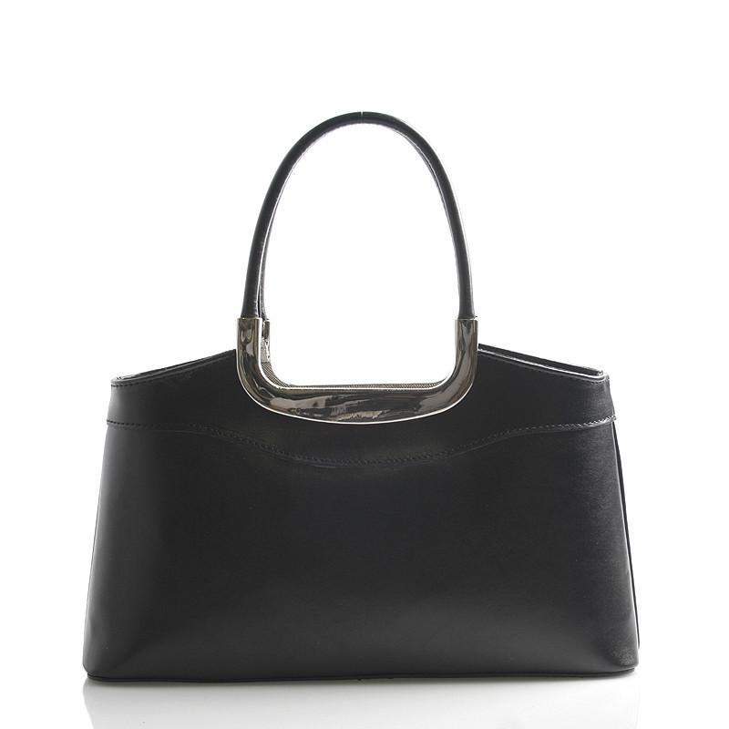 66bf929703 Čierna kožená kabelka do ruky ItalY Stefanie - Kabea.cz
