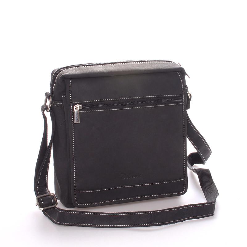 6c50c7bb1a Pánska kožená taška čierna - Delami Teodoro - Kabea.cz