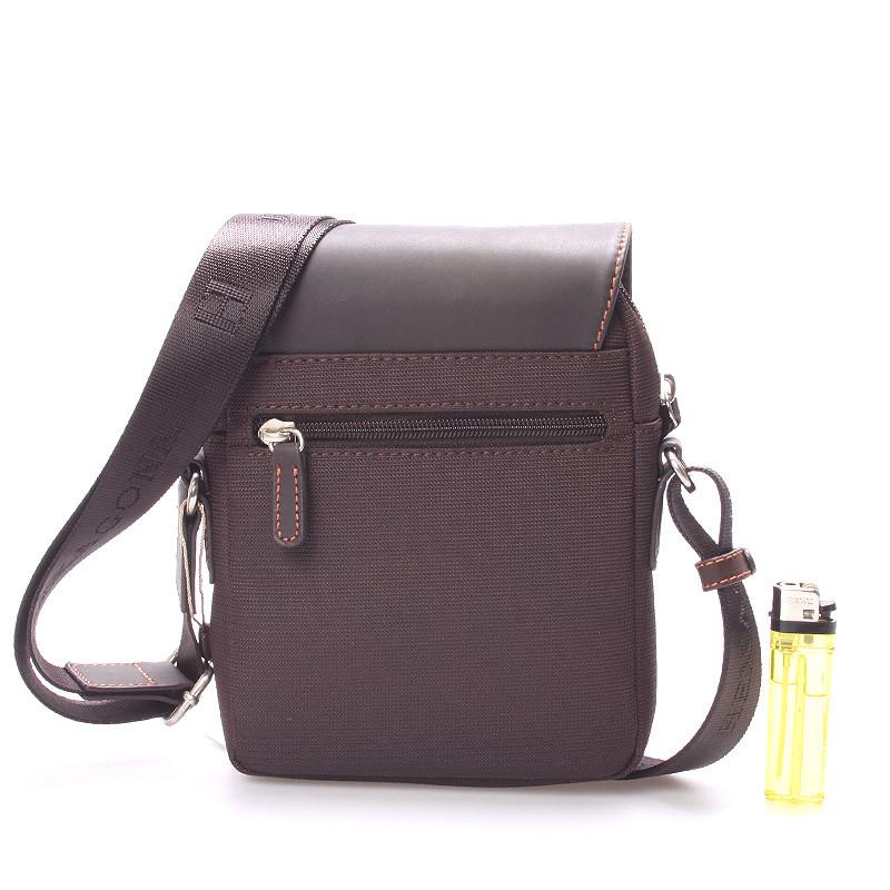ff9667fe1 ... Luxusná pánska kožená kabelka cez plece hnedá - Hexagona Filippo ...