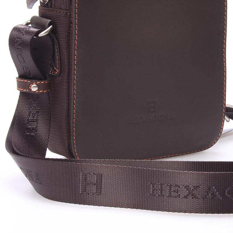 fe27cddd7 ... Luxusná pánska kožená kabelka cez plece hnedá - Hexagona Filippo