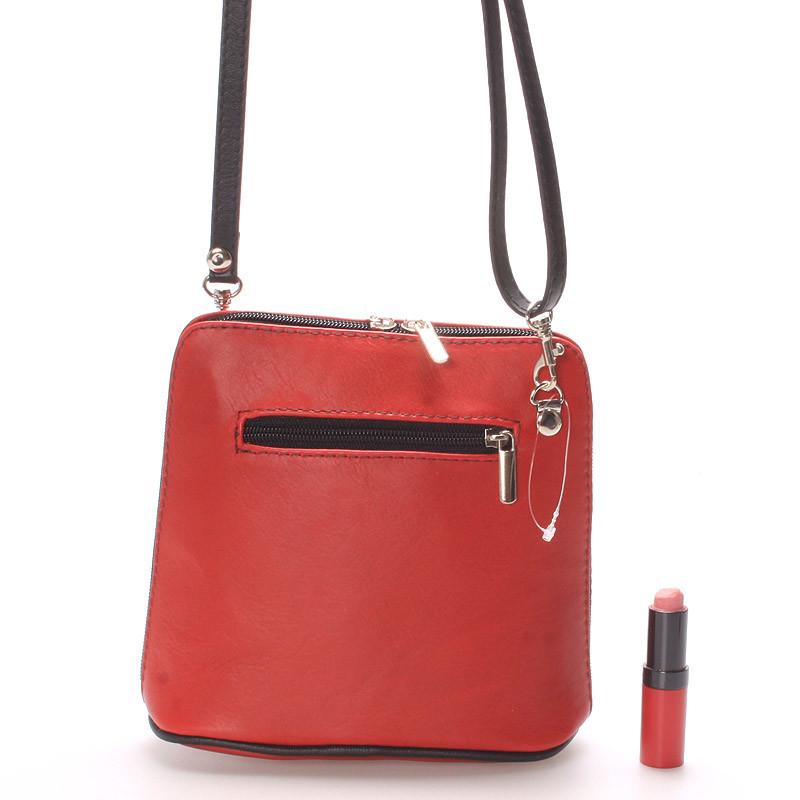 ... Červená dámska kožená kabelka crossbody s čiernym zipsom 10053 ... e35ab44bfb4