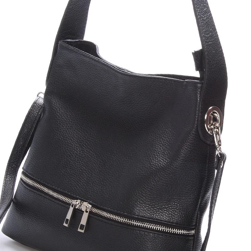 2953ddb04f Dámska kožená kabelka cez rameno čierna - ItalY Miriam - Kabea.cz