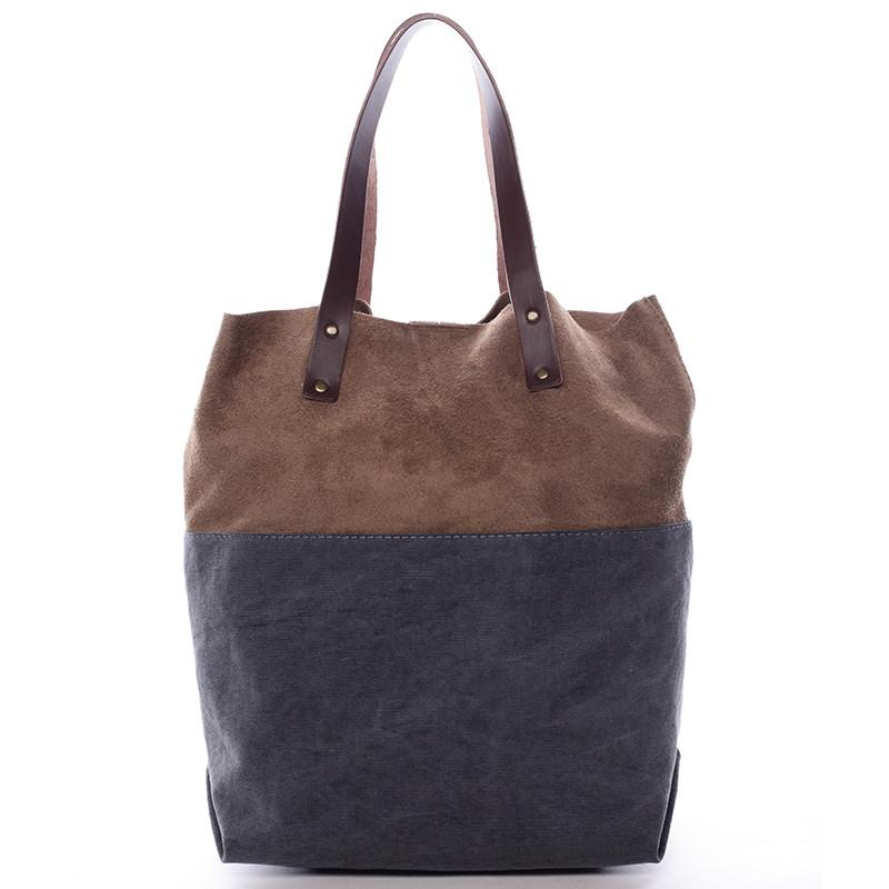 Dámska kožená kabelka shopper sivá - ItalY Luren - Kabea.cz 5b92b9a0694
