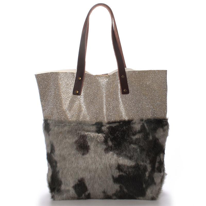 Dámska kabelka shopper s kožušinou šedá - ItalY Rachel - Kabea.cz 00cdab39845