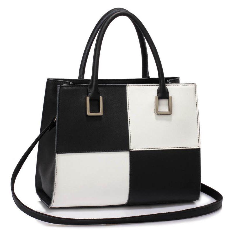 59f43f277a5e7 Luxusná dámska kožená kabelka čierno-biela - LEESUN Sofia - Kabea.cz