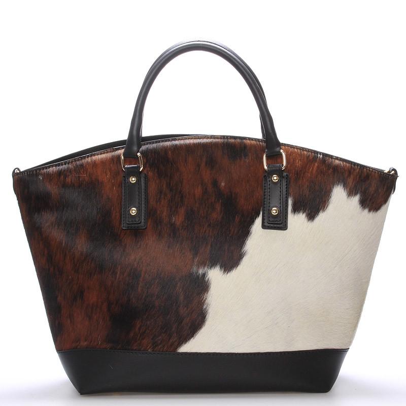 Čierna moderná kožená kabelka ItalY Casiopea s kožušinou - Kabea.cz 51410b4e3e8