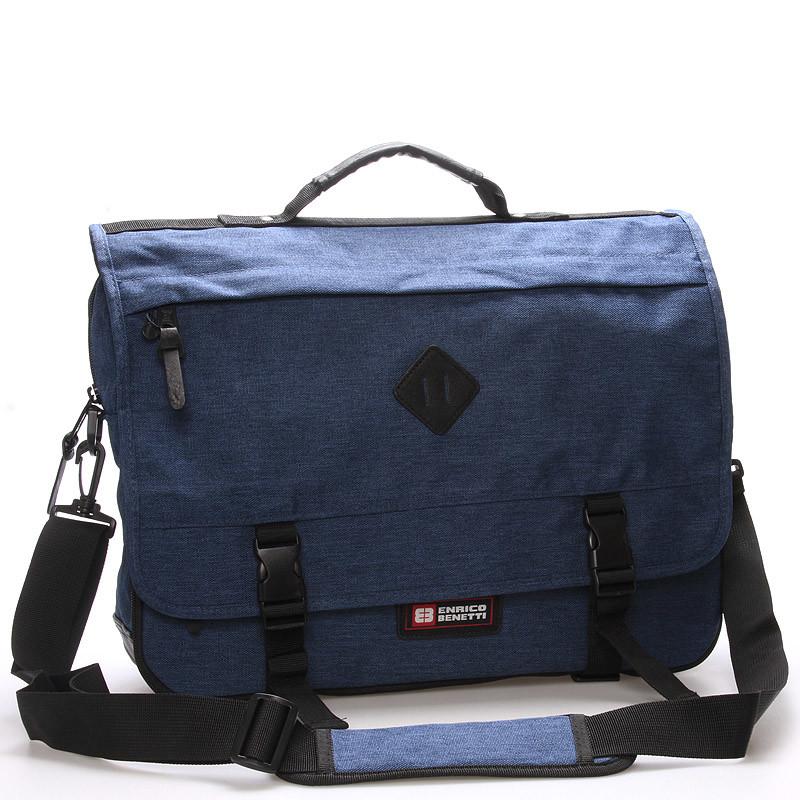 020122c906 Látková pánska taška cez rameno modrá - Enrico Benetti 4548 - Kabea.cz